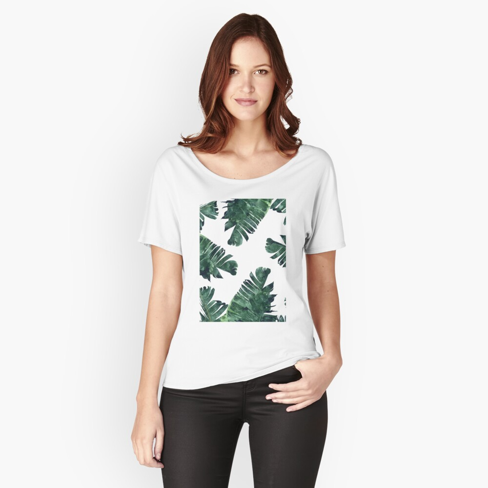 Bananen-Blatt #Watercolor Pattern # redbubble Loose Fit T-Shirt