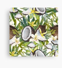 Watercolor vanilla flowers and coconut Canvas Print