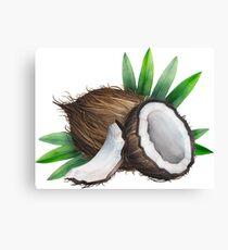 Watercolor coconut Canvas Print
