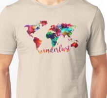 Watercolor Wanderlust World Map  Unisex T-Shirt