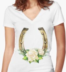 Watercolor horseshoes in golden color with white roses design Women's Fitted V-Neck T-Shirt