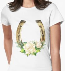 Watercolor horseshoes in golden color with white roses design T-Shirt