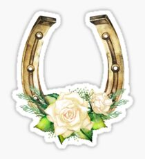 Watercolor horseshoes in golden color with white roses design Sticker