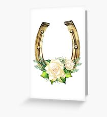 Watercolor horseshoes in golden color with white roses design Greeting Card
