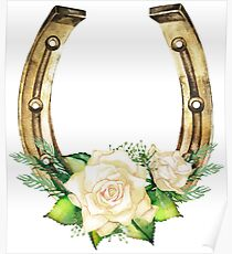 Watercolor horseshoes in golden color with white roses design Poster
