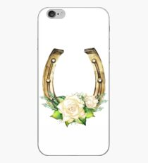 Watercolor horseshoes in golden color with white roses design iPhone Case