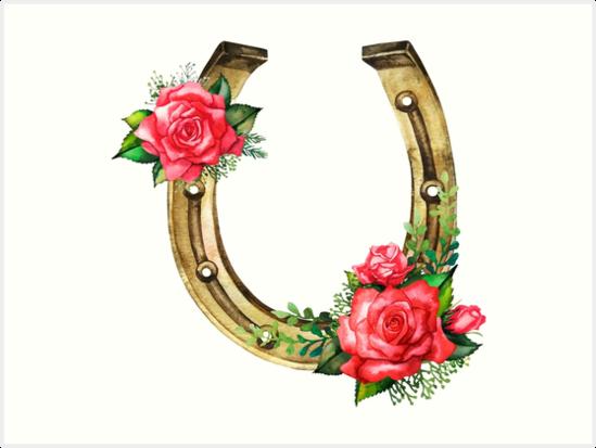 Laminas Artisticas Herraduras De Acuarela En Color Dorado Con - Diseos-de-rosas