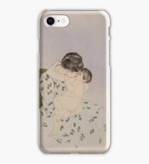 Mary Cassatt - Mother's Kiss 1890 - 1891 , Woman Sitting with a Child , American Impressionism  iPhone Case/Skin