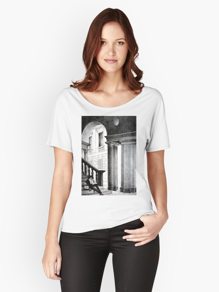 Vicenza, 2011, 50-70cm, graphite crayon on paper Women's Relaxed Fit T-Shirt Front