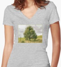 Fence Tree Women's Fitted V-Neck T-Shirt