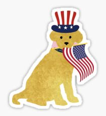 Preppy Patriotic Golden Retriever Sticker