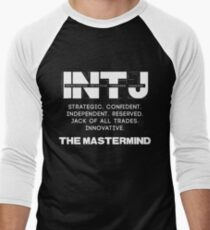 INTJ - Mastermind - Light Text Men's Baseball ¾ T-Shirt