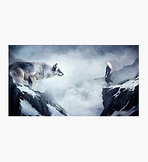 The wolf and the moon Photographic Print