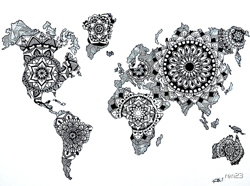 World map art prints by ren23 redbubble world map by ren23 gumiabroncs Image collections
