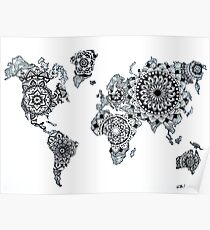 World Map Mandala Posters Redbubble - Mandala map of the world