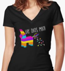 ¡Ay Dios Mio! Piñata Problems - Worried Burro Pinata has Candy Accident Women's Fitted V-Neck T-Shirt