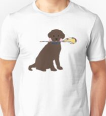 Preppy Chocolate Lab Lacrosse Dog Unisex T-Shirt