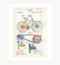 Colorful Bike Art - Vintage Patent - By Sharon Cummings Art Print