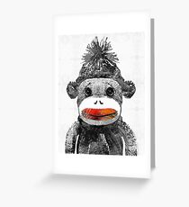 Sock Monkey Art In Black White And Red - By Sharon Cummings Greeting Card