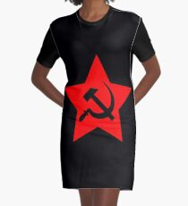 Communist Star; Hammer And Sickle Graphic T-Shirt Dress