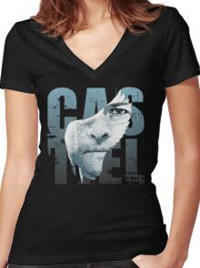 SPN Castiel Angel Wing Art Women's Fitted V-Neck T-Shirt