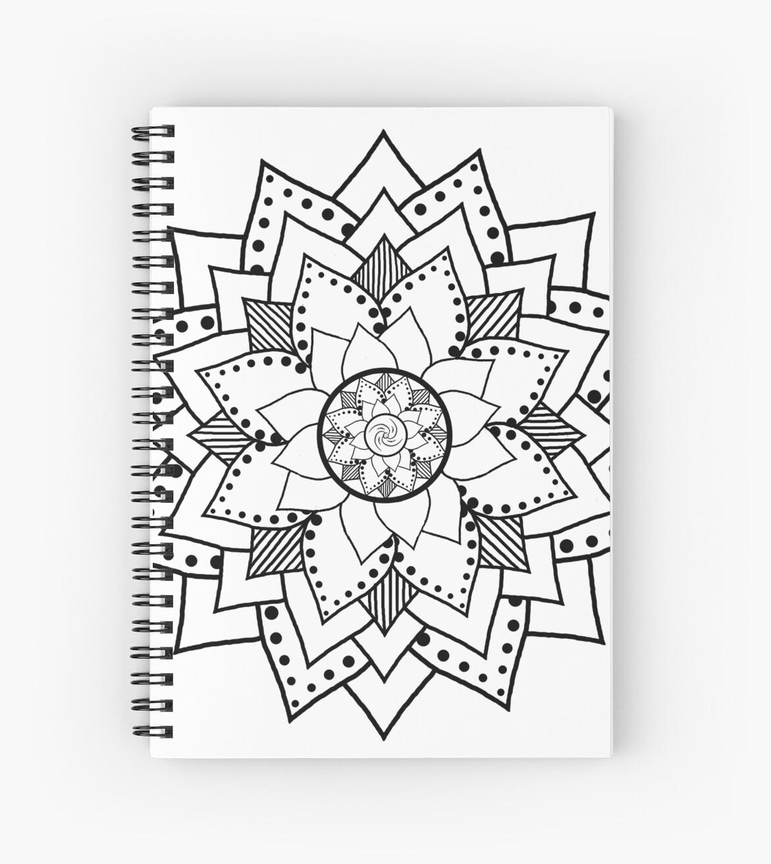 Mehndi henna style lotus flower blossom black spiral notebooks mehndi henna style lotus flower blossom black by leah mcneir mightylinksfo