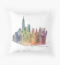 Rainbow Skyline Throw Pillow