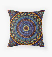 Kaleidoscope 4 abstract stained glass mandala pattern Throw Pillow