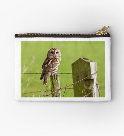 Tawny Owl on fencepost Studio Pouch