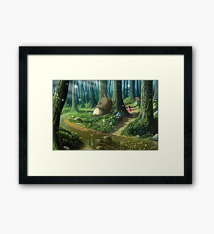 Totoro and Mei Framed Print
