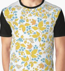 Blue Flowers & Paisley Leaves Graphic T-Shirt