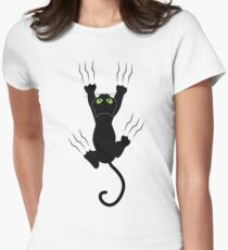 Funny Black Angry Cat T-Shirt I Love Cats Cute Graphic Tee  Women's Fitted T-Shirt