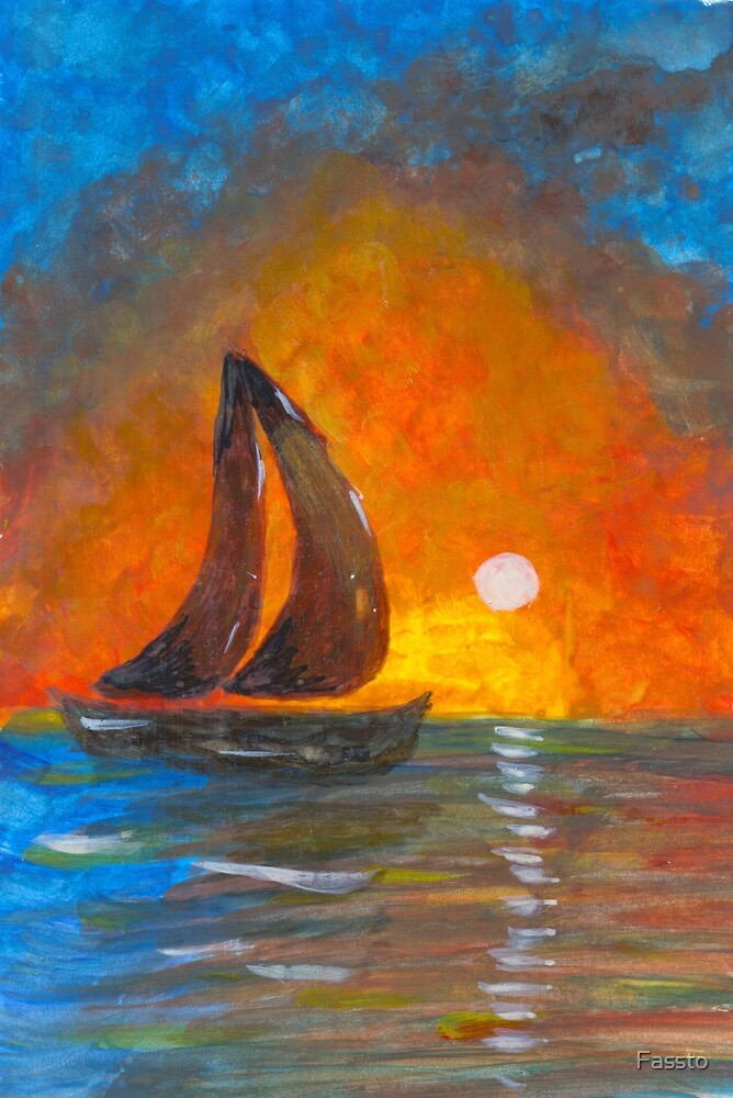 A boat sailing against a vivid colorful sunset  by Fassto
