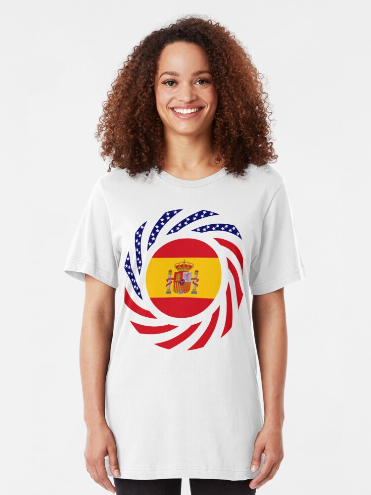 Alternate view of Spanish American Multinational Patriot Flag Series Slim Fit T-Shirt