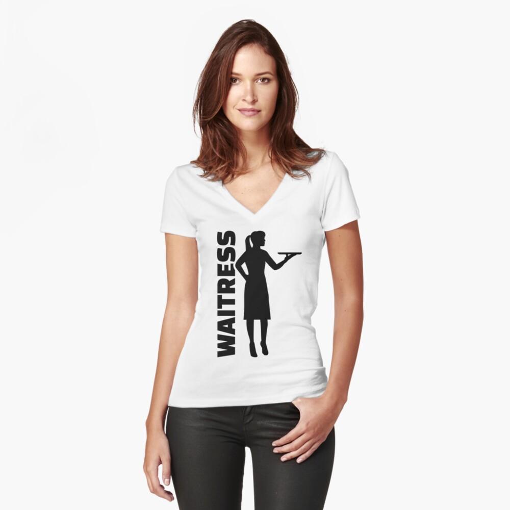 Kellnerin Tailliertes T-Shirt mit V-Ausschnitt