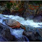Banded Rock at Livermore Falls by Wayne King