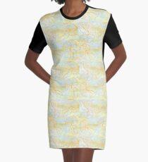 Orange Seashell Graphic T-Shirt Dress