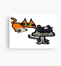 Two Cats Play Cop and Robber Canvas Print
