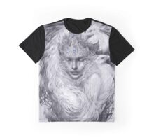 Fairy lady with white peacocks. Graphic T-Shirt