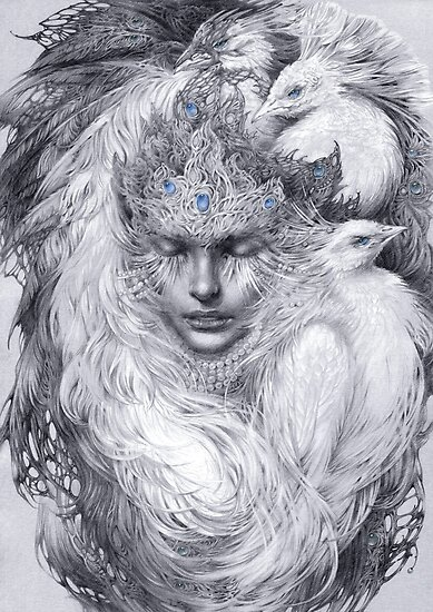 Fairy lady with white peacocks. by DalfaArt