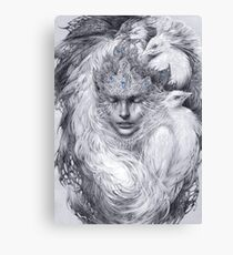 Fairy lady with white peacocks. Canvas Print
