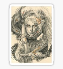 Lady with hawks and amber jewelry Sticker