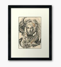 Lady with hawks and amber jewelry Framed Print