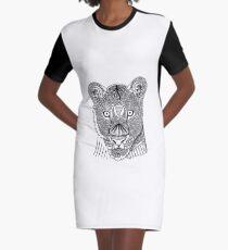 Lioness Doodle Graphic T-Shirt Dress
