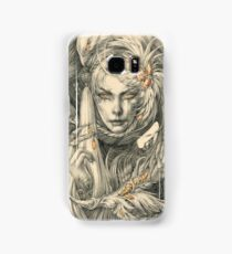 Lady with hawks and amber jewelry Samsung Galaxy Case/Skin