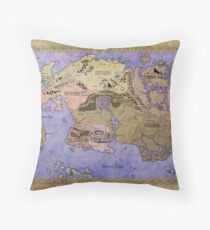 Elders Scrolls map in Ink - COLOR Throw Pillow
