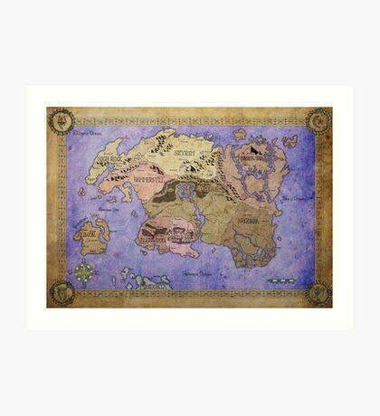 Elders Scrolls map in Ink - COLOR Art Print