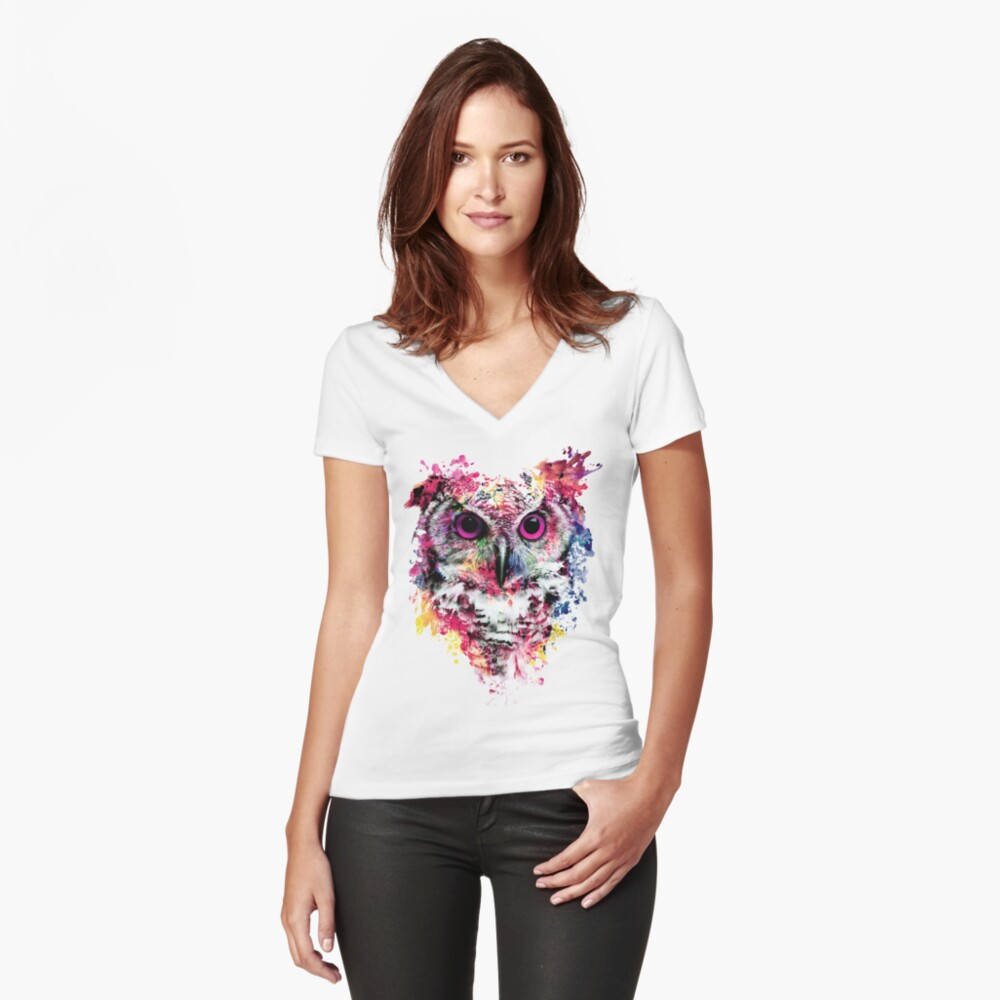 Owl Fitted V-Neck T-Shirt