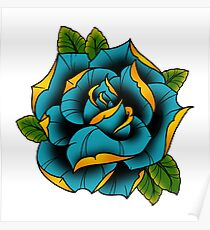 Neotraditional Rose in Blue Poster