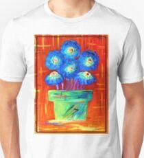 Blue Flowers on Orange Unisex T-Shirt